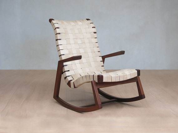 Terrific Mid Century Modern Rocking Chair Natural Leather Handwoven Seat Lounge Chair Living Room Chair Handmade Furniture Sustainable Wood Creativecarmelina Interior Chair Design Creativecarmelinacom