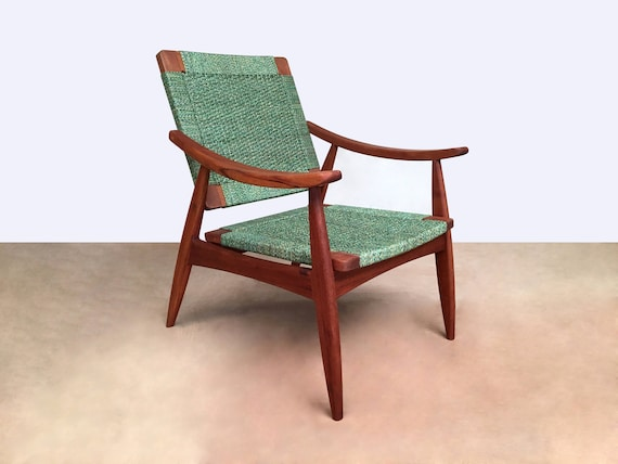 Amazing Green Lounge Chair Arm Chairs Mid Century Modern Lounger Handcrafted Furniture Mahogany Danish Modern Handwoven Mod Mcm Living Room Spiritservingveterans Wood Chair Design Ideas Spiritservingveteransorg