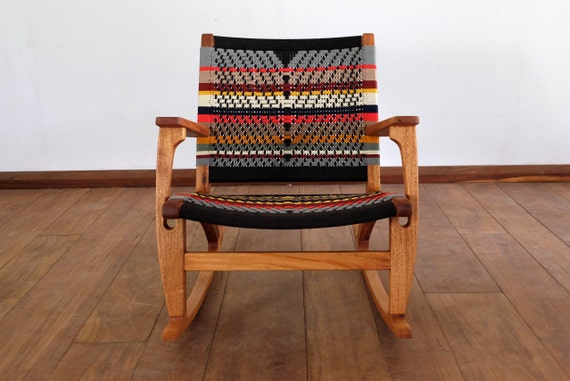Outstanding Mid Century Modern Rocking Chair Accent Chair Lounger Chair Colors Handwoven Seat Black Stripes Linear Pattern Retro Modern Rustic Short Links Chair Design For Home Short Linksinfo