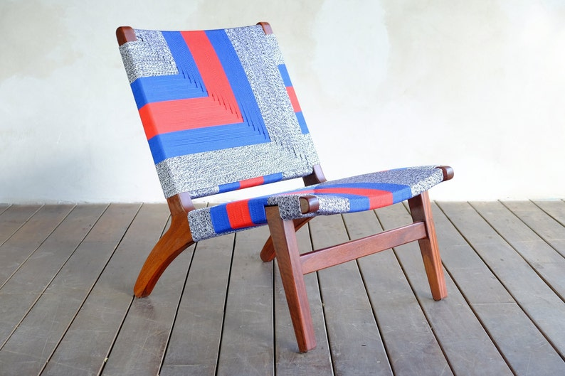 Mid Century Chair - Handmade Furniture- Handwoven - Living Room Chair -  Danish Modern Chair - Accent Chair - hammock chair- Sustainable wood