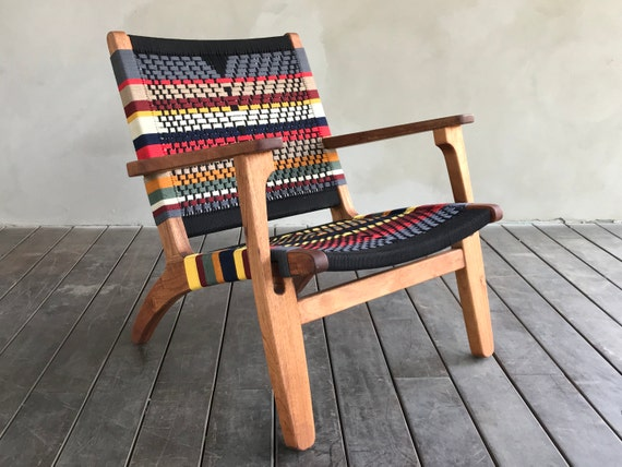 Excellent Mid Century Modern Armchair Accent Chair Lounger Hardwood Furniture Handwoven Linear Pattern Black Retro Rustic Midcentury Ocoug Best Dining Table And Chair Ideas Images Ocougorg