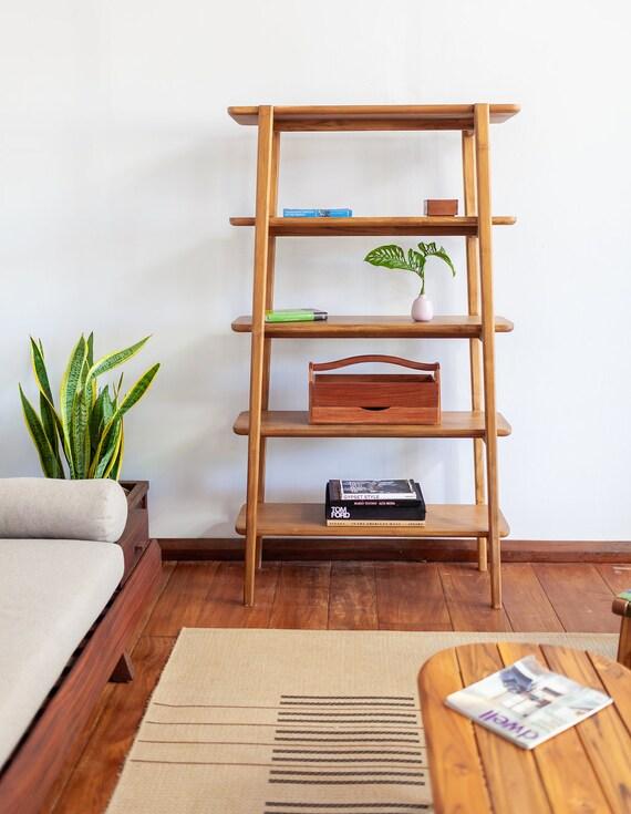 Apanas Bookshelf, Mid Century Modern, Hardwood furniture, storage, living  room, sustainable wood, bedroom, rustic home decor