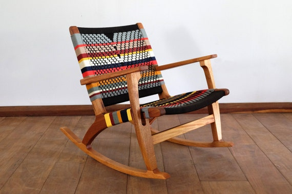 Fabulous Mid Century Modern Rocking Chair Accent Chair Lounger Chair Colors Handwoven Seat Black Stripes Linear Pattern Retro Modern Rustic Creativecarmelina Interior Chair Design Creativecarmelinacom