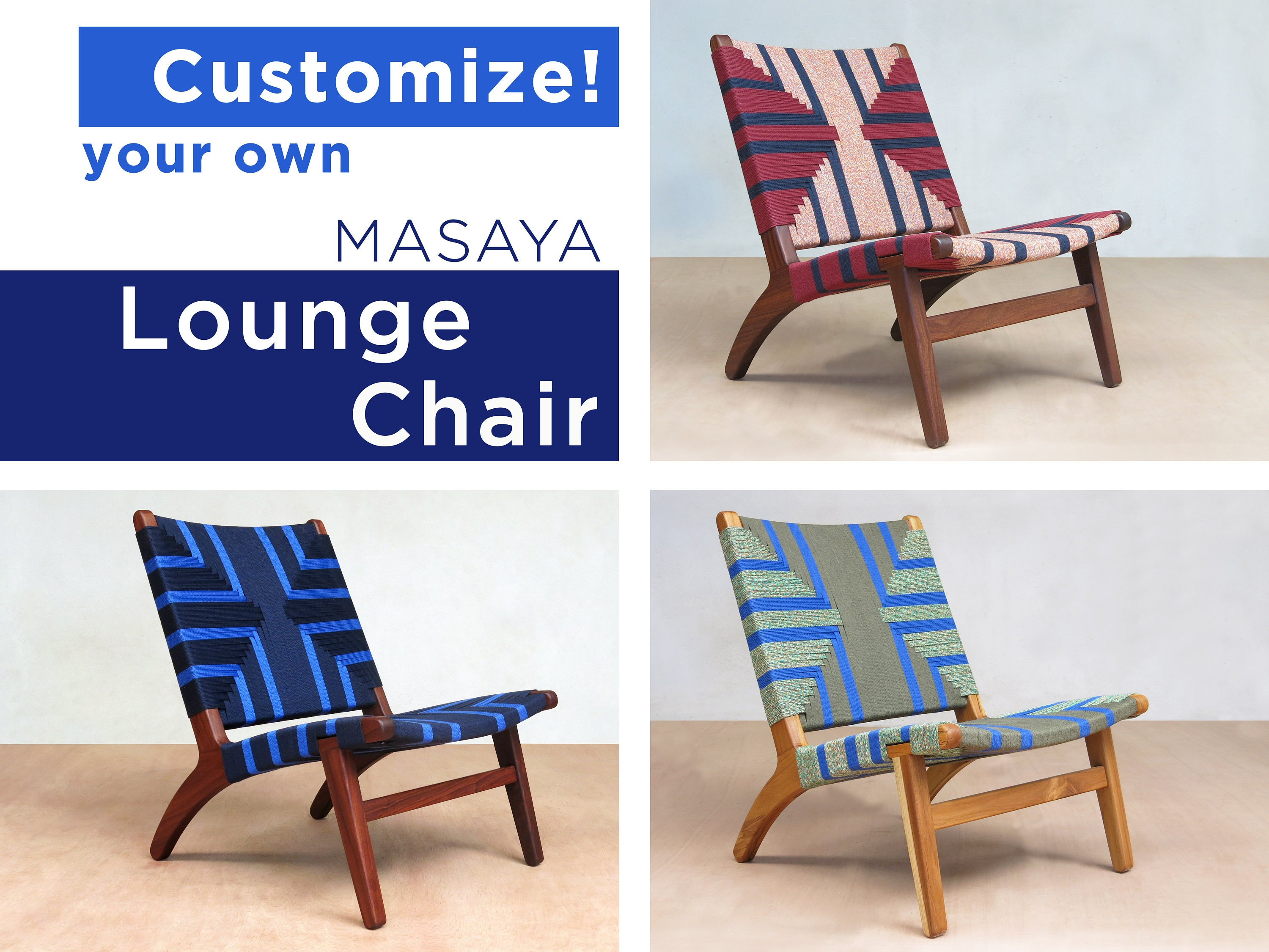 Custom Geometric Pattern Mid Century Modern Lounge Chair