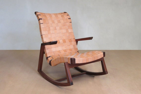 Pleasant Mid Century Modern Rocking Chair Leather Handwoven Seat Lounge Chair Living Room Chair Handmade Furniture Sustainable Wood Creativecarmelina Interior Chair Design Creativecarmelinacom