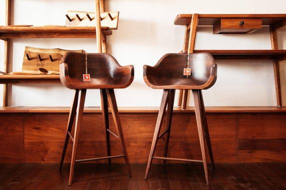 Art Nouveau furniture - Counter Stool - Hardwood Stool - Kitchen Counter  Stool - Bar Stool - midcentury modern chair- Handmade Furniture