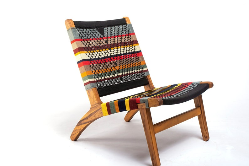 Mid Century Modern Chair San Geronimo Pattern Accent Chair Etsy