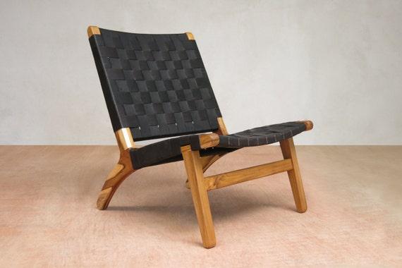 Incredible Black Leather Midcentury Modern Chair Handmade Furniture From Sustainable Wood Handwoven Seat Living Room Chair Danish Modern Chair Inzonedesignstudio Interior Chair Design Inzonedesignstudiocom
