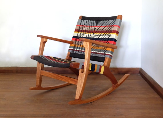 Terrific Mid Century Modern Rocking Chair Accent Chair Lounger Chair Colors Handwoven Seat Black Stripes Linear Pattern Retro Modern Rustic Alphanode Cool Chair Designs And Ideas Alphanodeonline
