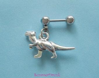 Dinosaur tragus earring, Tragus piercing.