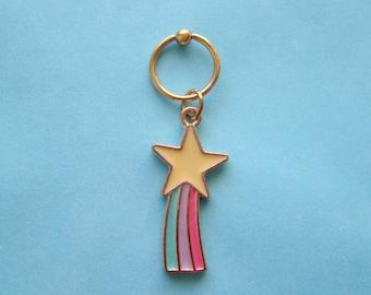 Star captive bead ring.Rainbow ear piercing.