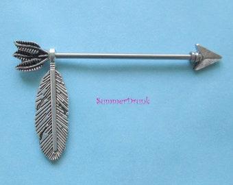 Arrow industrial piercing,industrial barbell,14ga barbell.