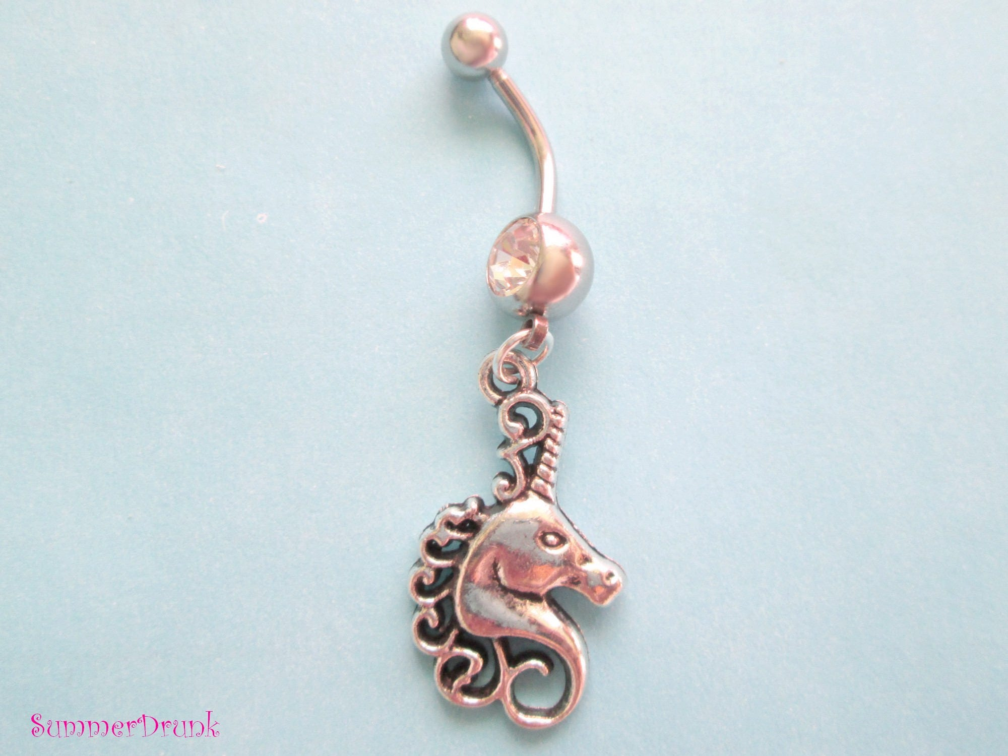 Belly Button Ring Unicorn Belly Ring Navel Ring Belly Button Rings Belly Piercing Dangle Belly Ring Boho Belly Ring Unicorn Belly Ring