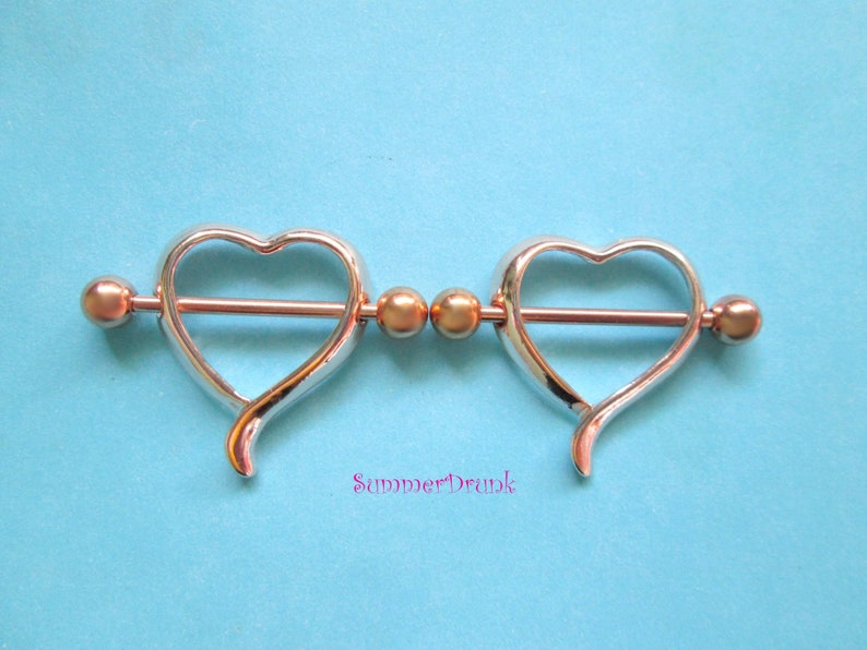 Rose gold heart nipple ring