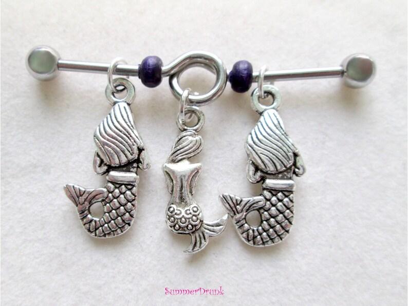 industrial body piercing body jewelry Mermaid industrial piercing,industrial barbell body piercing body barbell 14 ga barbell