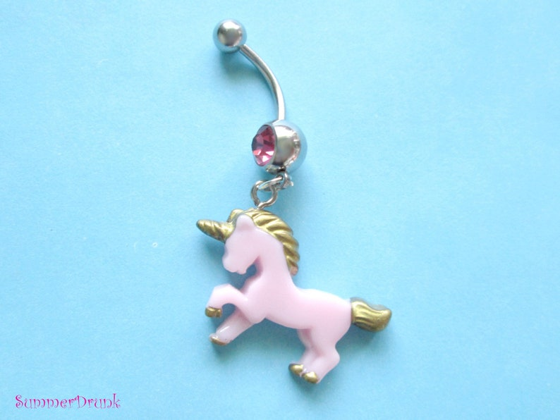 Unicorn Belly Ring Belly Button Ring Navel Ring Belly Button Rings Belly Piercing Dangle Belly Ring Boho Belly Ring Unicorn Belly Ring