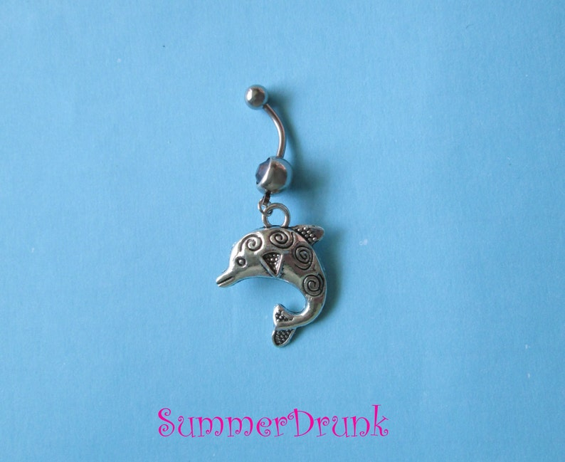 Dangle belly ring Dolphin belly ring,Navel ring,Belly button rings,Belly piercing Boho belly ring,Dolphin belly ring Belly button ring