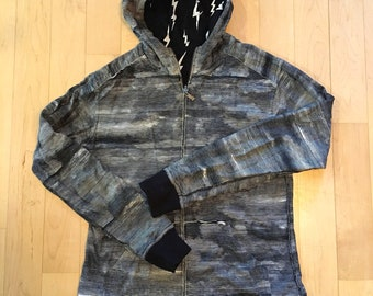 Reversable Thunder Clouds And Lightning Bolts Full Zip All Over Print Hoodie
