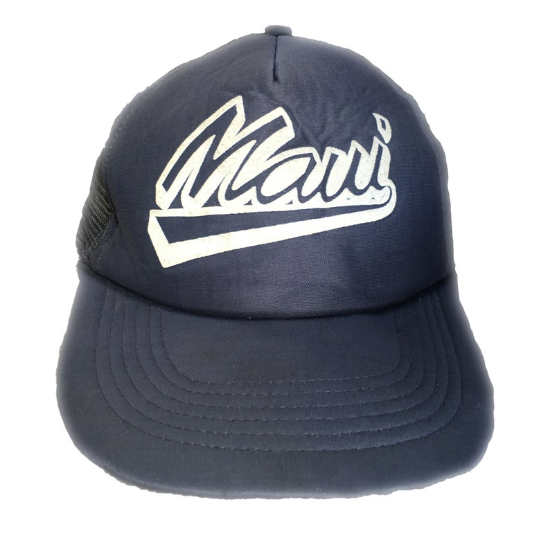 7da3d42f12fa3 Maui Hawaii Oahu Surf Trucker Snapback Navy Blue Hat Cap