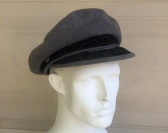 Vintage Greek Fisherman s Hat Gray Wool Cap Size Large ac19b5e7dbf9