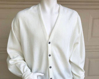 Vintage 90s Mens White Cardigan Sweater Grandpa Cardigan Size XL
