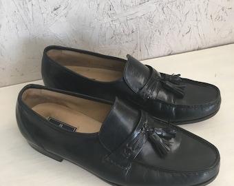 9f55e6c2fd3 Vintage Men s Black Leather Tassel Loafers by Bostonian Stockbridge Size 11  M FREE SHIPPING