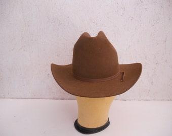 Vintage Resistol Cowboy Hat . NIOB . Chestnut Brown Felt . Style Cattleking  . Long Oval . Size 6 5 8 b216ec57f72