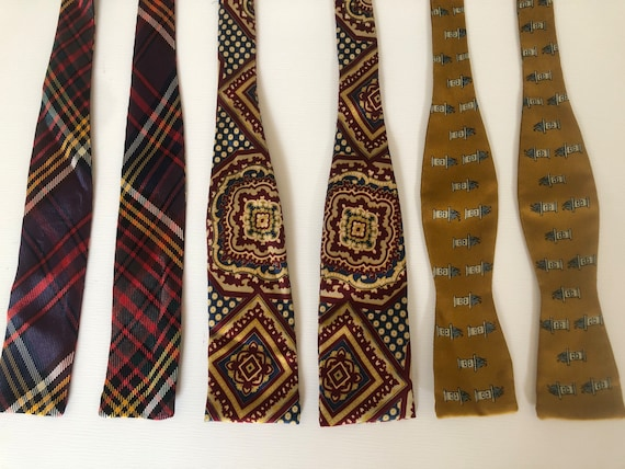 Vintage 40s 50s Silk Bow Tie Collection Lot of 3 A