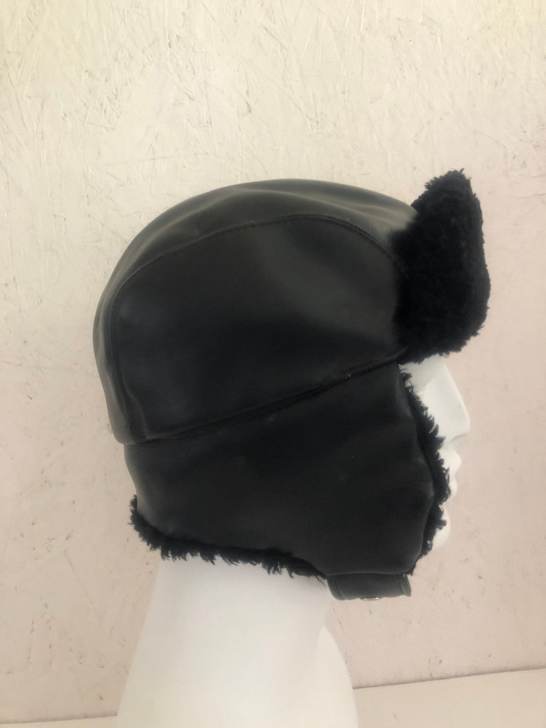 573ad5b97 Vintage Black Bomber Hat Faux Fur Aviator Hat Trapper Hat Optional Flaps +  Chin Strap Snaps Small