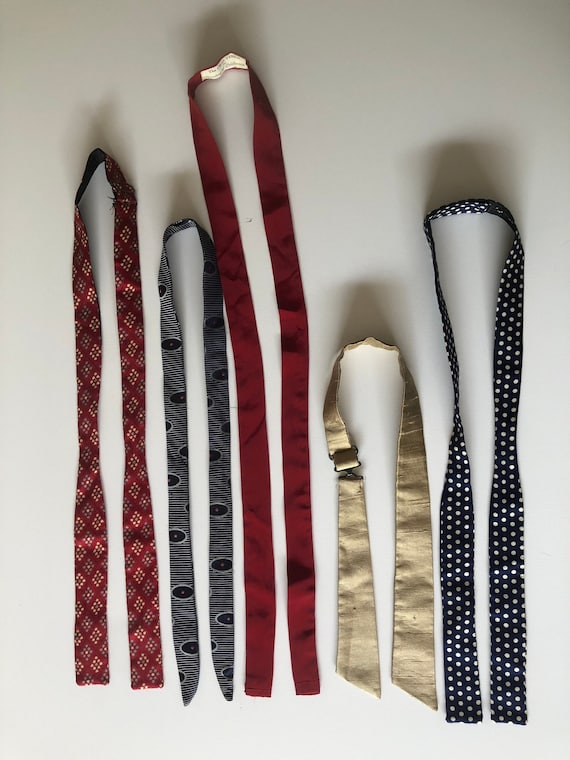 Vintage 40s 50s Silk Bow Tie Collection Lot of 5 S