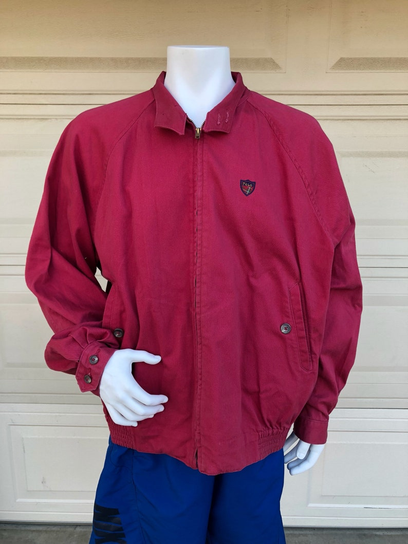 d5a50b46a8 Vintage Red Polo Ralph Lauren Cotton Jacket Size XL