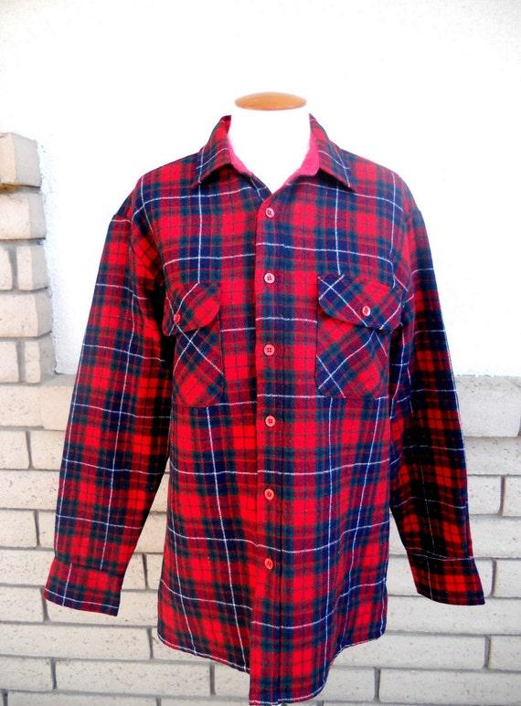 Vintage Men's Flannel Jacket, Red Flannel Shirt, P