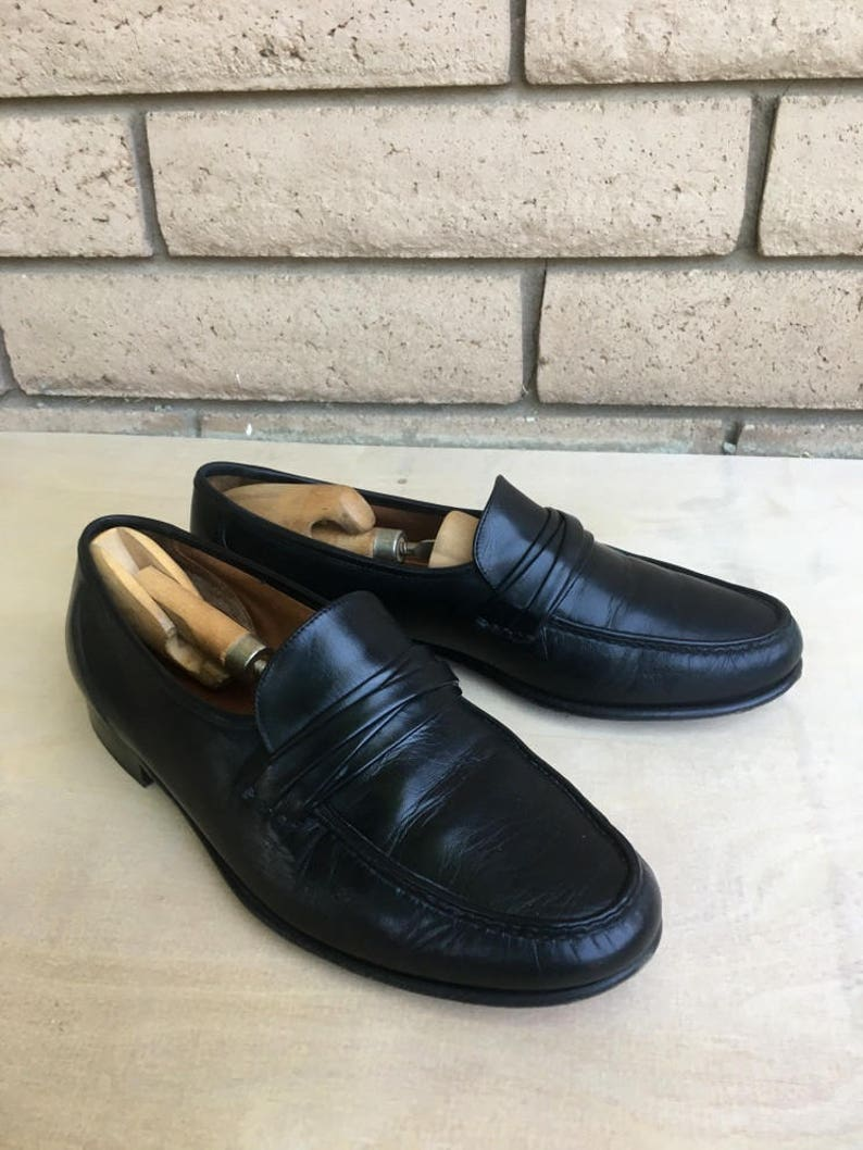 9ea9450310da7 Vintage Allen Edmonds Black Leather Loafers Size 12 3E FREE SHIPPING