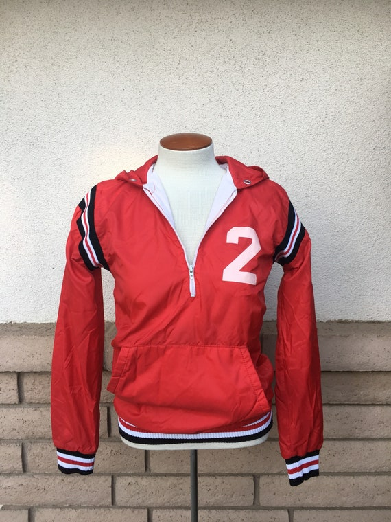 b0a9ee6ae85d Vintage Bountiful Hooded Jacket Red Striped Champion Half Zip