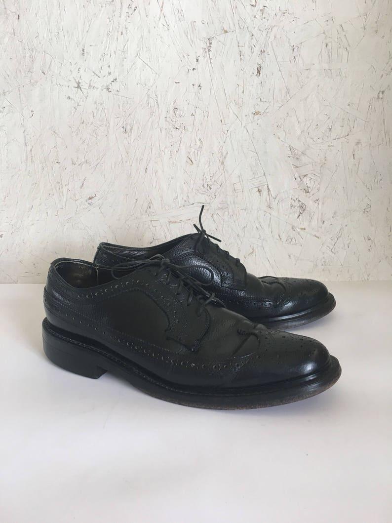 76f452f4be4ad Vintage Men's Black Wingtip Oxford Shoes Size 7 1/2 C FREE SHIPPING