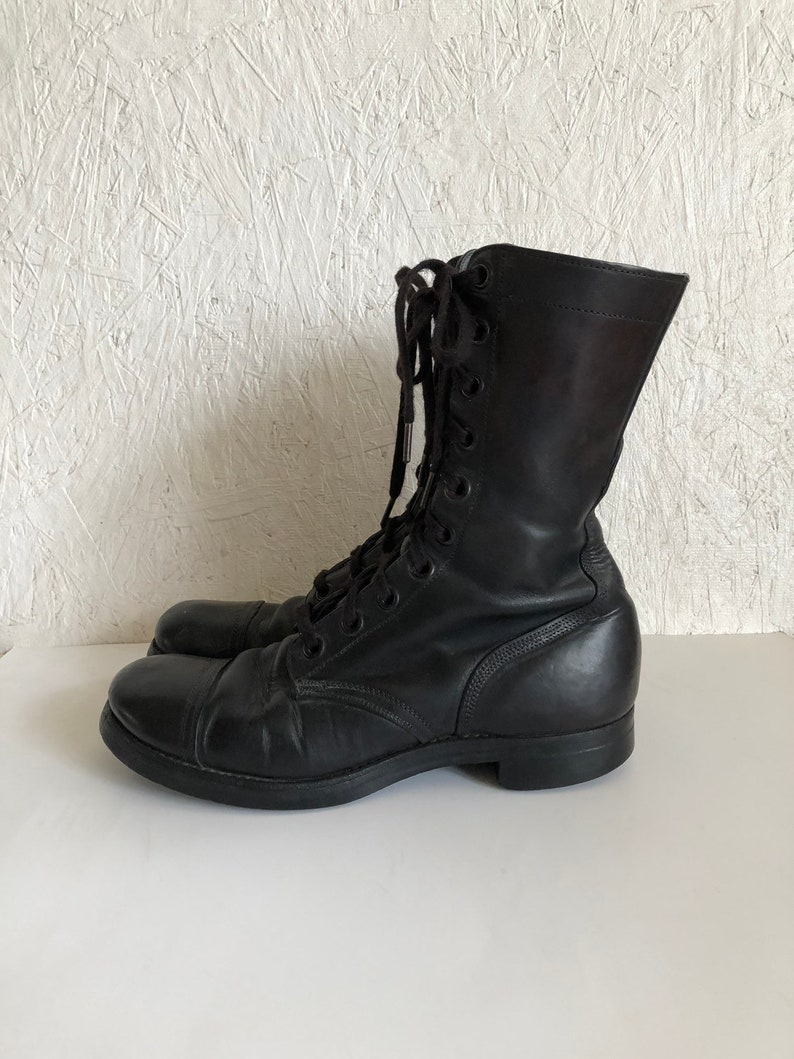 657975faf37 Vintage Captoe Combat Boots Military Black Lace Up Boots Slipknot Soles  Plymouth Rubber Co. Men 8 Women 9-9 1/2