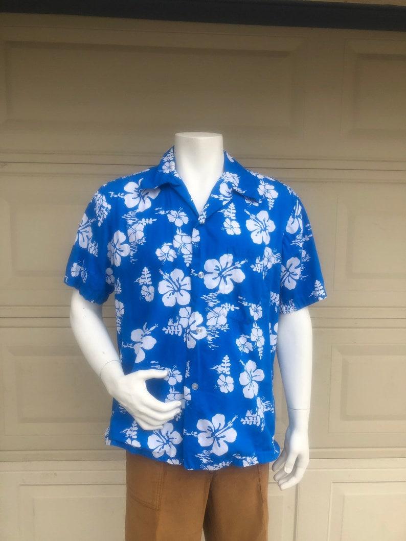6817c636 Vintage 60s Men's Blue Hibiscus Hawaiian Shirt Ui-Maikai | Etsy
