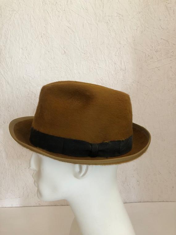 Vintage 40s Fuzzy Copper Stetson Fedora Hat 3X Beaver Quality  6fa557e466c