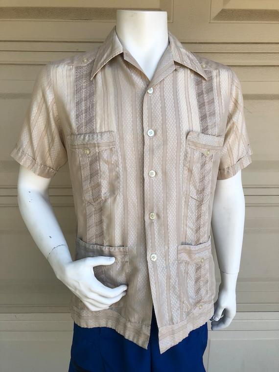 Mexican Wedding Shirt.Vintage 60s 70s Mexican Wedding Shirt Loop Collar Tan Embroidered Guayaberas Meridana Shirt 15 15 1 2