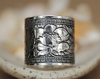 Zen Lotus Ring - Sterling Silver Tube Ring - Lotus Blossom Ring - Boho Chic Botanical Ring - Yoga Jewelry - Cigar Band Ring - Wide Band Ring