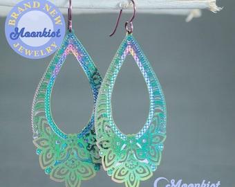 Holographic Blue Mix Resin Teardrop Dangle Earrings Dangle Earrings Holographic Earrings