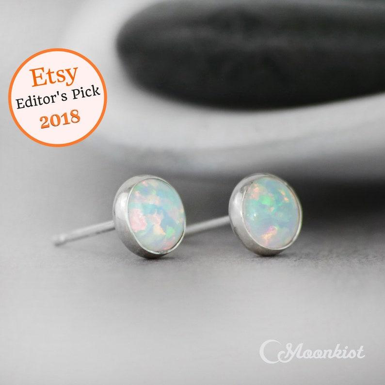 d83f612aca3ba Opal Stud Earrings - Sterling Silver Opal Earrings - Silver Stud Earrings -  Opal Studs - Mens Studs - October Birthstone Earrings - 6 mm