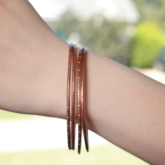 8 Copper Bangle Bracelet Hammered Thin Copper Stacking Bracelets READY TO SHIP Individual Bangle
