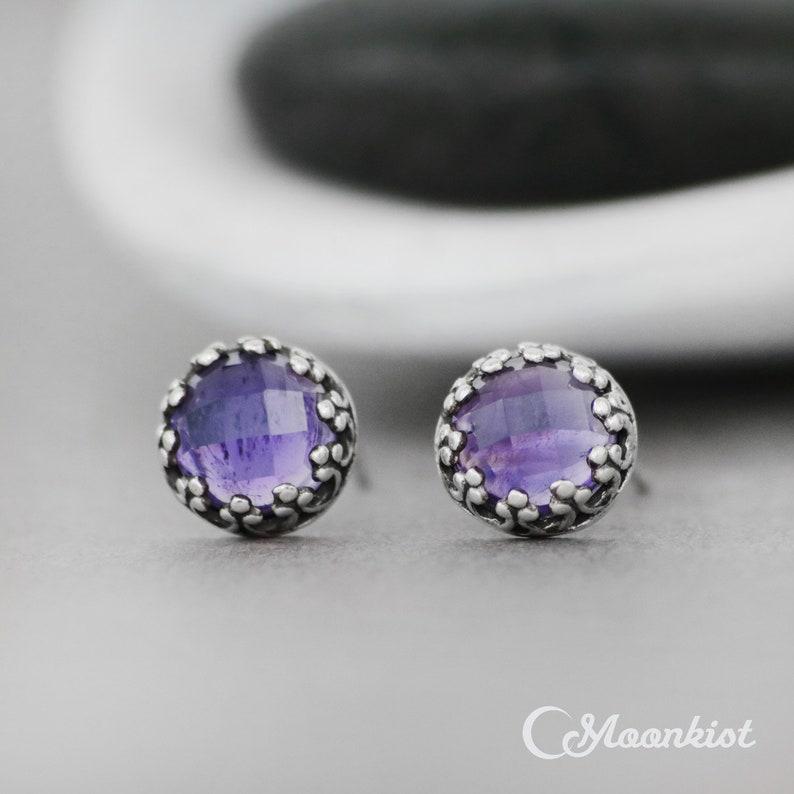 f1f9d9067 Amethyst Stud Earrings Purple Stud Earrings Filigree Silver   Etsy