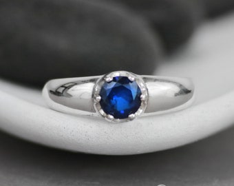 Blue Sapphire Solitaire Ring in Sterling - Silver September Birthstone - Gemstone Artisan Solitaire in Low Set Mounting - Gift For Her