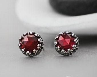 Garnet Stud Earrings, Red Stud Earrings, Filigree Silver Stud Earrings, Stud Earrings for Women, Rose Cut | Moonkist Creations