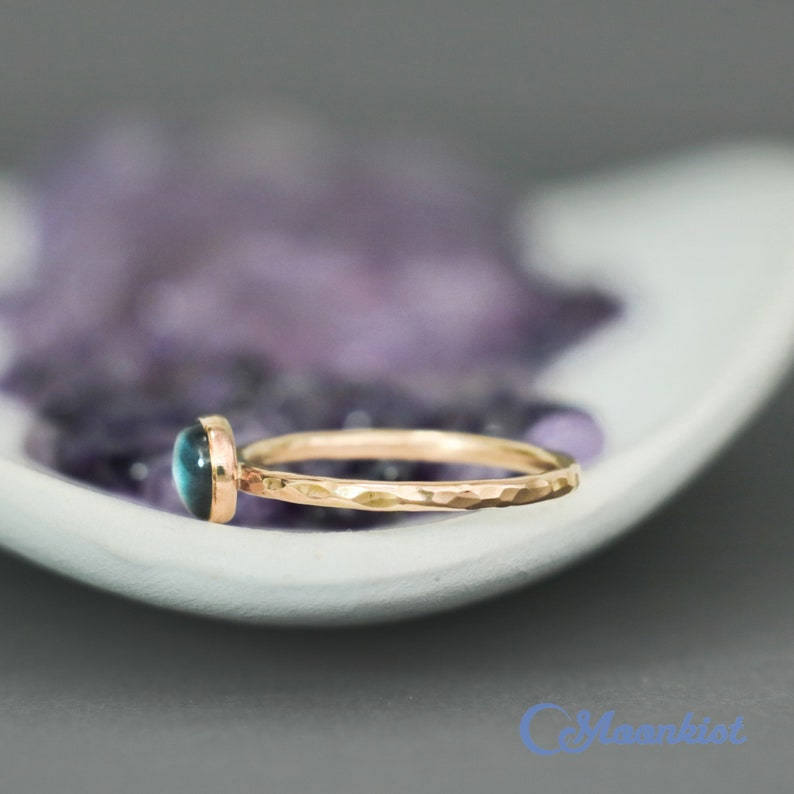 Yellow Gold Filled Midnight Moonstone Stacking Ring Gold 6 mm Labradorite Ring Dainty Round Gold Labradorite Ring Moonkist Creations