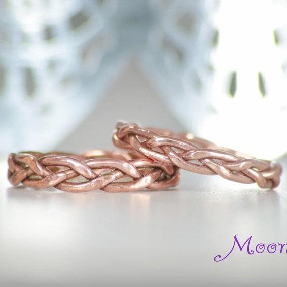 Rustic Wedding Band Set Copper Wedding Ring Set Copper Etsy
