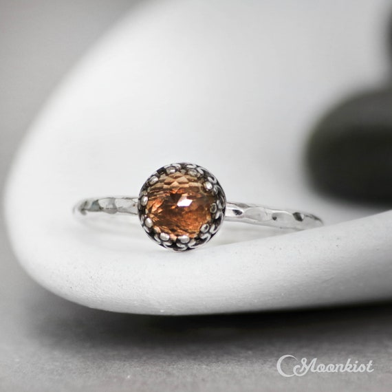Silver Plate Smoky Quartz Stacking Ring