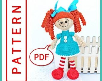 Doll Ginger girl - Crochet toy Amigurumi pattern PDF